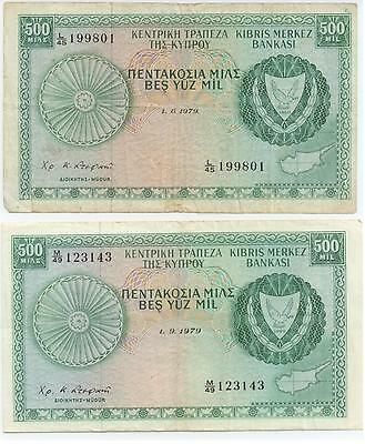 Cyprus Banknotes 2 X 500 Mils  6/1979, 9/1979 Used