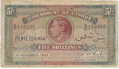 Cyprus Banknote 5 Shillings 1950 Used