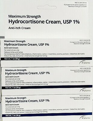 Hydrocortisone 1% Cream Maximum Strength Anti-Itch 1oz Tube -Pack of 3-