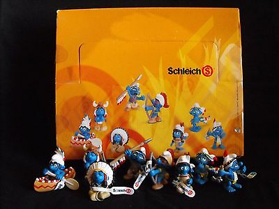 "Smurf Complete Set Native American ~ ""MINT"" ~ Peyo ~ Schleich ~ 2006 ~ Germany"