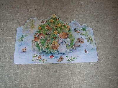 Mary Hamilton Vintage Hallmark Angel Woodland Critters Christmas Tree Card