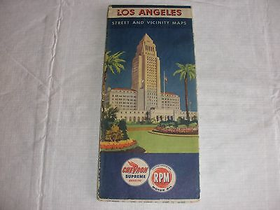 1940's LOS ANGELES STREET AND VICINITY MAP, Vintage Chevron RPM Oil