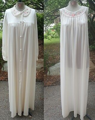 Vintage Lorraine Ivory Long Nightgown Dress Matching Robe Overcoat Lace M L XL