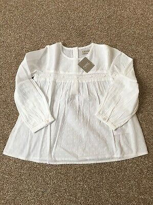 NEXT Girls 4-5 Years BNWT White Long sleeved Cotton Top