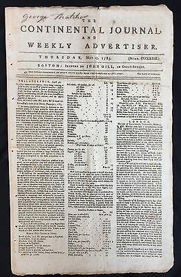 1783 BOSTON REVOLUTIONARY WAR newspaper EARLY MASSACHUSETTS MEDICAL SOCIETY AD