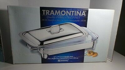"Tramontina Rectangular Buffet Dish w/ Cover 18/10 Stainless Steel New 13"" X 9"""
