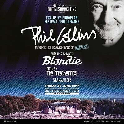 phil collins, bst tickets hyde park x2 gold circle e tickets