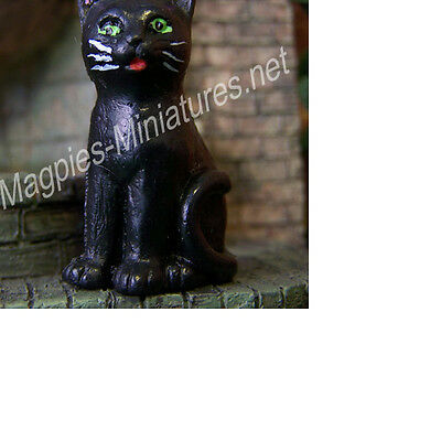 Dolls House 12th scale Black Cat Sitting