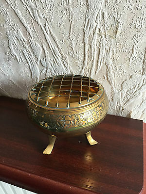 """Vintage Brass Rosebowl 3"""" Includes Grill Excellent Condition"""
