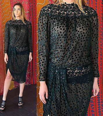 Vintage 80s Sequin Dress NWT Lace Beaded Metallic Party Cocktail Evening