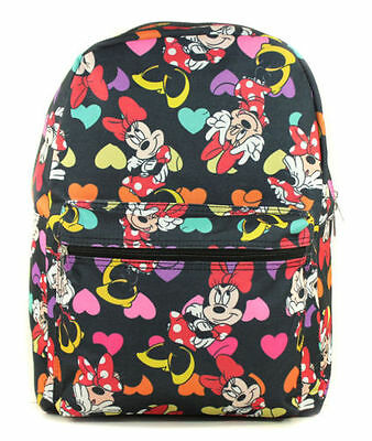 """Disney Junior Girl's Minnie Mouse All Over 16"""" School Bag Backpack-Black"""