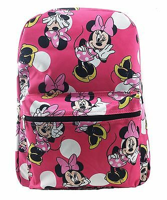 "Disney Junior Girl's Minnie Mouse All Over 16"" School Bag Backpack-Pink"