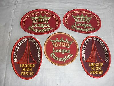 AJBC Bowling Award League Patches lot of 5