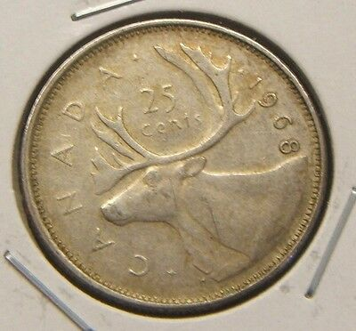 1968~~Canada~~25 Cents~~Silver Beauty~~Au