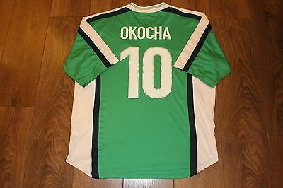 Okocha #10 France 98 World Cup Nigeria Home Authentic Vintage Soccer Jersey. Xl