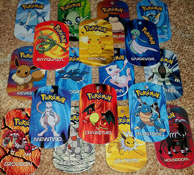 10 Pokemon Metal Tags - two legendary Pokémon guaranteed! - Good condition!