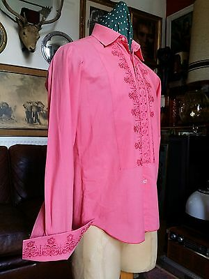 Vintage 70s LE ROI After six Cocktail Dinner Evening Dress Embroidered Shirt.Med