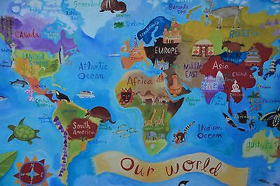 Land of Nod Wall Art Canvas Banner Our World Continents Nursery Child's Room NEW