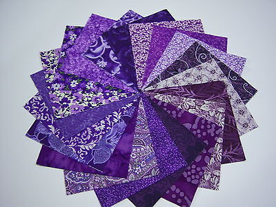"40 * Deep Purple 4"" Cotton Fabric Quilt Quilting Squares 40 kit  USA   **"
