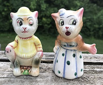 Vintage Anthropomorphic Fisherman And Woman Cats Salt & Pepper Shakers