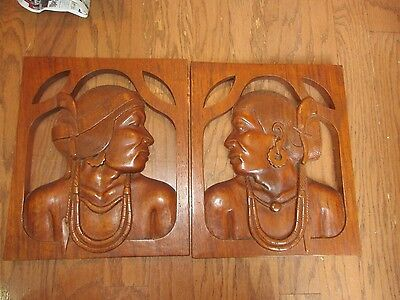 VINTAGE PAIR OF 1950S WOOD CARVED WALL PLAQUES PHILLIPINES WOMAN and MAN VGC