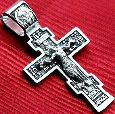 Sterling Silver 925 Russian Orthodox Crucifix , Prayer Cross Fine Jewelry New