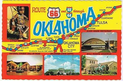 Oklahoma Postcard Route 66 Road Map Multi View