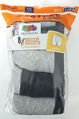 Fruit of the Loom Boys Boxer Briefs 8 Pk Size Large (14-16)