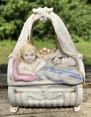 Antique Conta Boehme Porcelain Fairing/Trinket Box Child And Cat On Bed