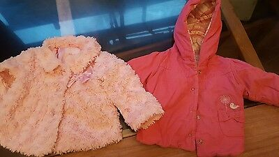 2 baby girls coats age 6-9 months