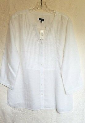 Talbots SIZE L NWT White  Blouse  tunic 100% Linen 3/4 SLEEVES