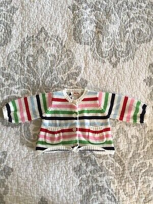 BABY GAP Boys 0-3 Months Striped Knitted Sweater Button Cardigan
