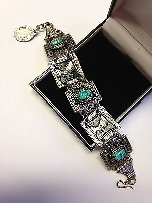 Vintage Jewellery Silver Tone Egyptian Revival Bracelet With Blue Scarab Beetle