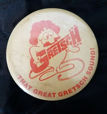 Vintage 1970s Gretsch Guitars Promo Advertising Pin Back Button That Great Grets