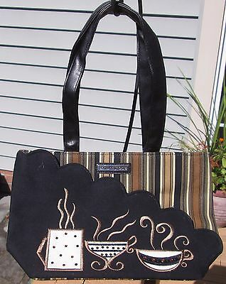 Longaberger Homestead Tote/purse~Coffee Cups~Rhinestones~New~***too Cute***