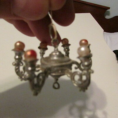Antique German Dollhouse Miniature Metal Chandelier