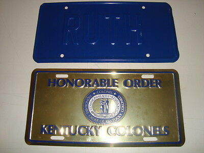 """Lot of 2 New. """"Honorable Order Kentucky Colonels"""" License Plate and """"RUTH"""" 21294"""