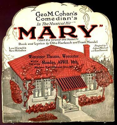 "1922 George M Cohan ""mary"" Post-Bway 12-Page Die-Cut Brochure Harbach & Mandel"