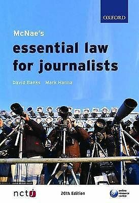 MCNAE's Essential Law for Journalists by Mark Hanna, David Banks (Paperback, 20…