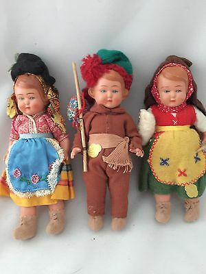 Stunning!! Lot Of Three Dolls From Portugal Vintage Portuguese Europe