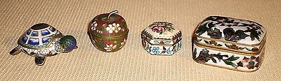 Vintage Cloisonne TRINKET BOX Collection of 4 Highly Decorated 79r
