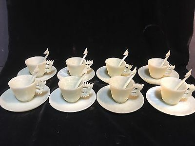RARE Set Of 8+ Vintage Chinese Carved Jade Tea Cups, Saucers, Dragon Spoons
