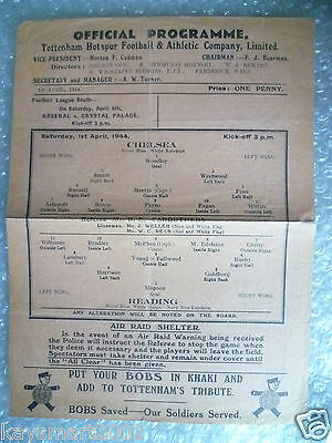 1943/44 Football League (South) War Cup Semi FINAL - CHELSEA v READING,1st April
