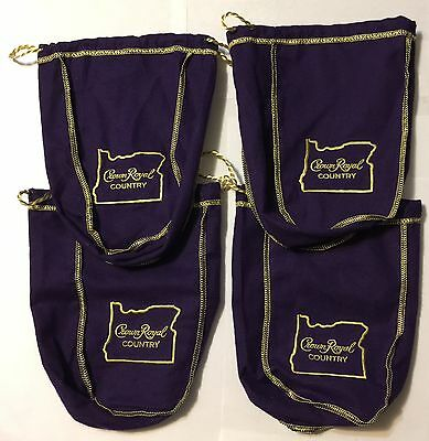 Crown Royal Lot of 4 Purple Country Oregon State Drawstring Bags 750 ML