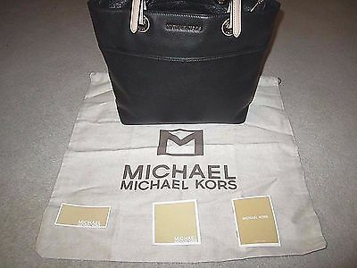 Michael Kors Black Leather Bedford TZ Pocket Tote Handbag With Tags