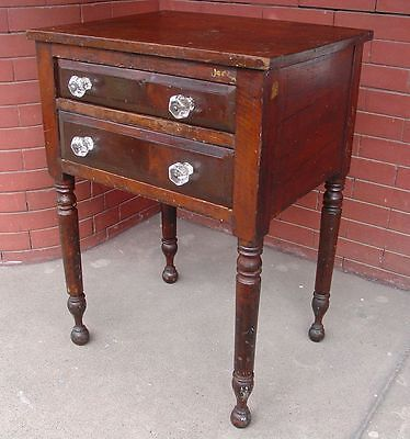 1800's SHERATON Mixed Woods 2 Drawer STAND ~~ Night Lamp Sewing Work TABLE