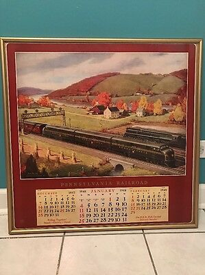 "1940s Pennsylvania Railroad Calendar Framed Large Size Collectible 28.5"" By 29"""
