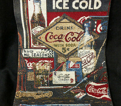 """Coca Cola Wall Hanging Thick Colorful Tapistry Slogans Vintage Style 31"""" X 8.5"""""""