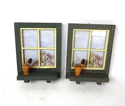 LOT OF 2 Boyds Bear Window Picture Frame Ledge Wall Home Decor RARE Green