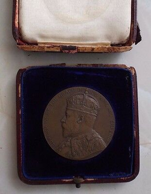 Edward Vii 1906 Large Bronze Medal / Medallion In Original South Kensington Box.